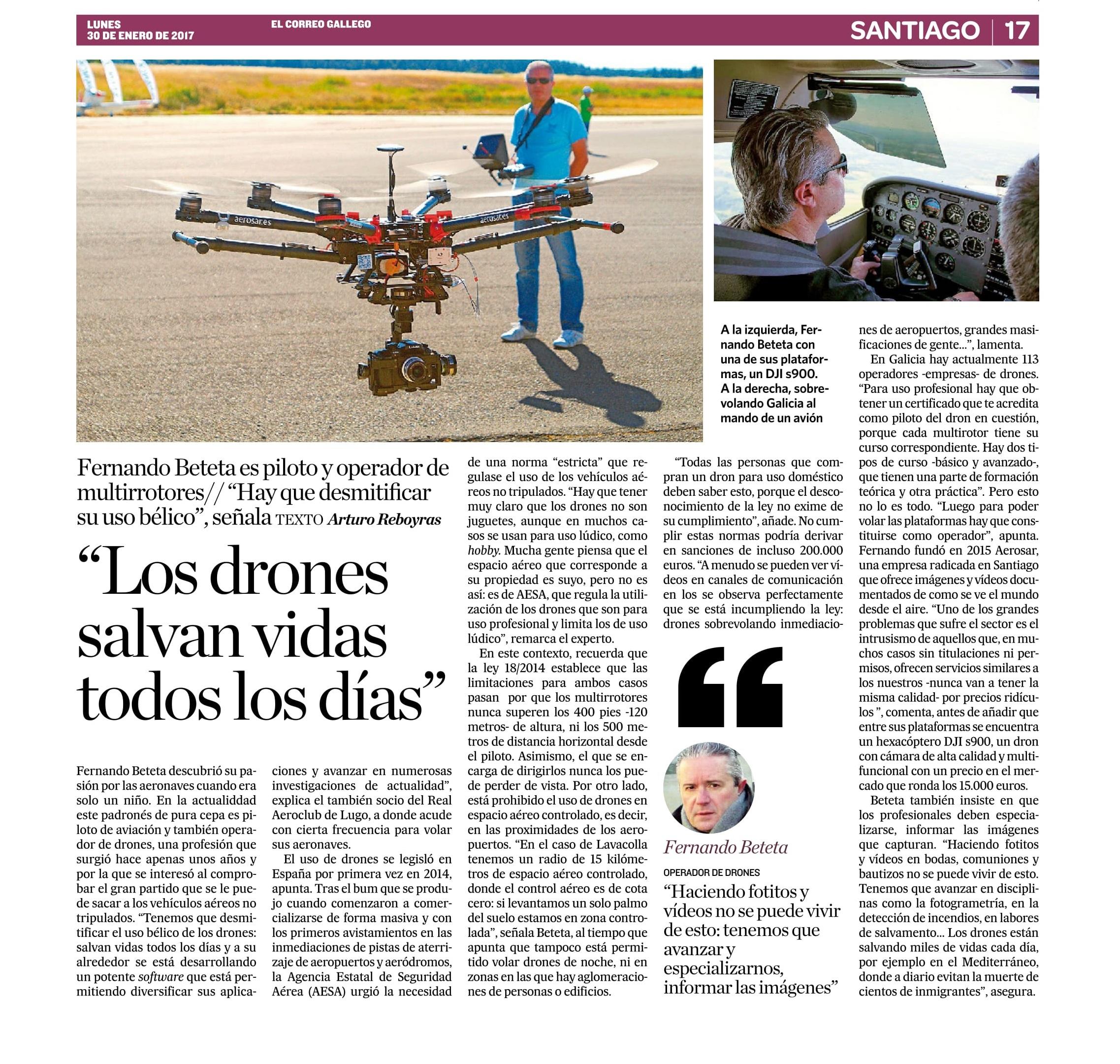 Aerosar en El Correo Gallego